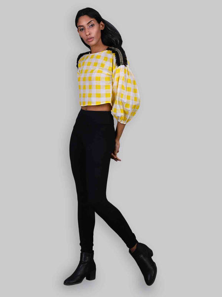 Rena Love Feeling Yellow Checks blouse