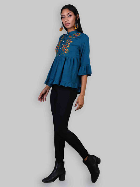 Rena Love Midnight Blue Embroidery Blouse