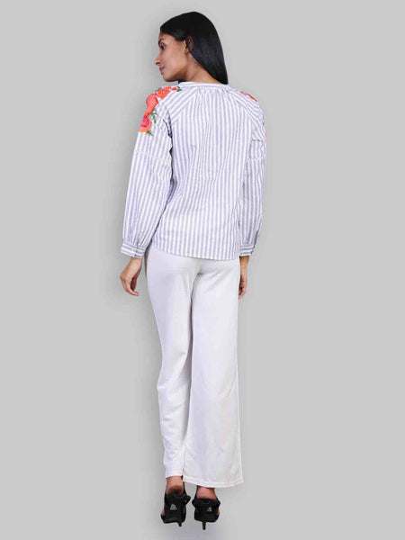 Rena Love Naomi Stripes Embroidered top