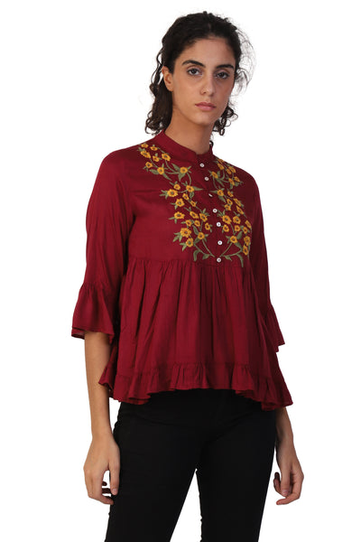 Rena Love Embroidered High-Low Blouse