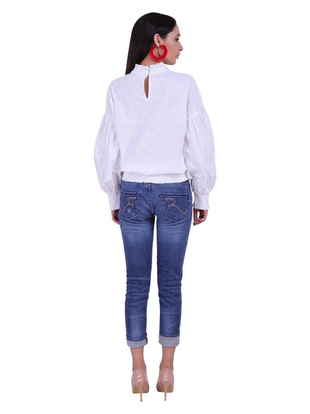 Rena Love White Embroidered Blouse