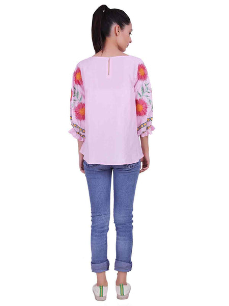Rena Love Baby Pink Embroidered Blouse
