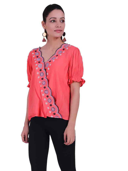 Rena Love Broderie Scalloped Edge Blouse