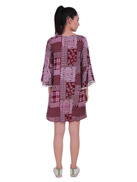 Rena Love Maroon Printed Tasseled Dress