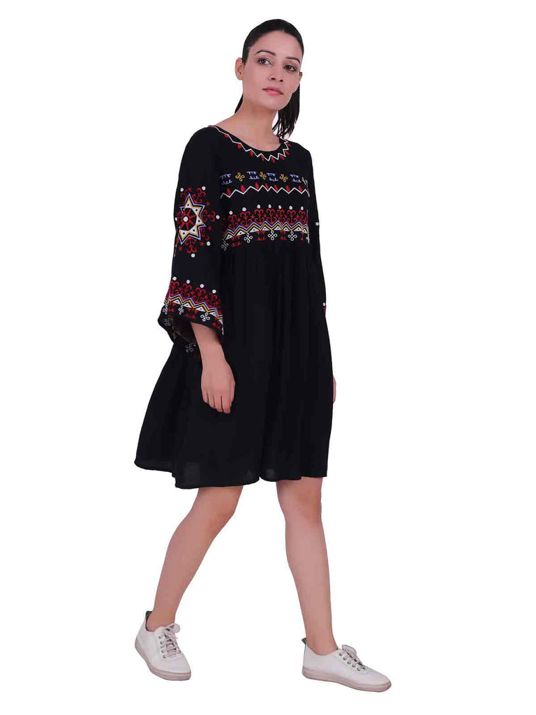 Contrast Embroidered Shift Dress