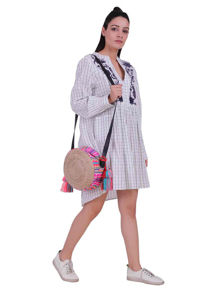 Rena Love All over Checks Embroidered White Dress