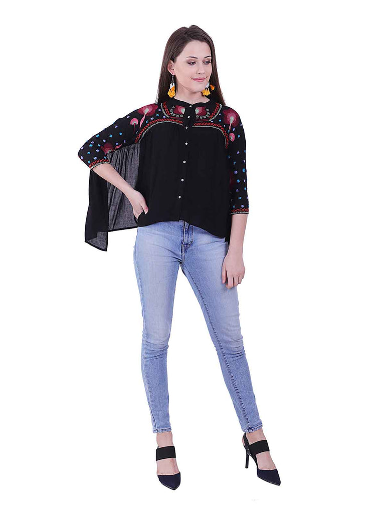 Bat Sleeve Embroidered Blouse