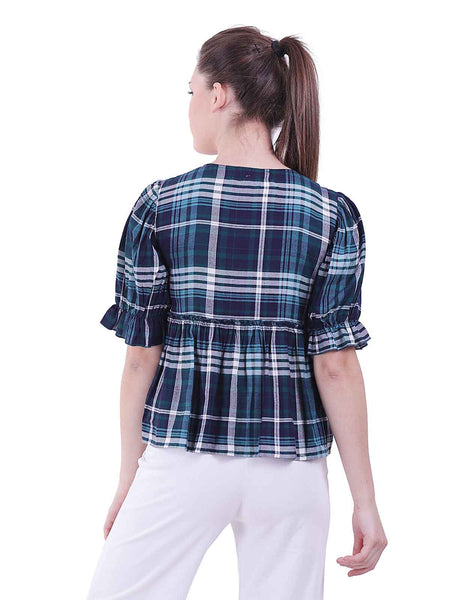 Rena Love All over Checks Embroidered Peplum Blouse