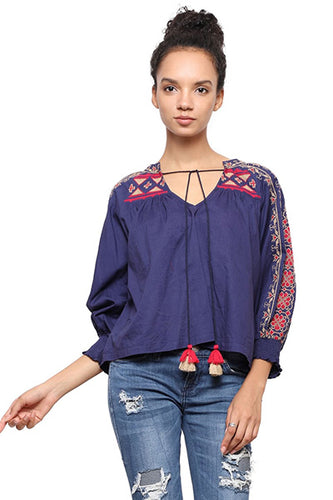 Rena Love Cross Stitch Boho Top