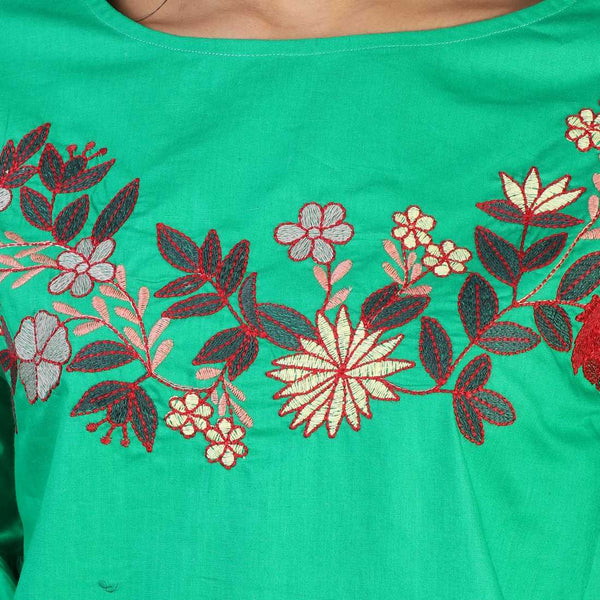 Rena Love Parrot Green Embroidered Dress