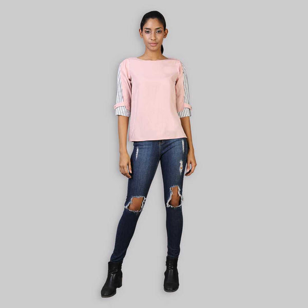 Rena Love Blush Pink Overlap Sleeve Top