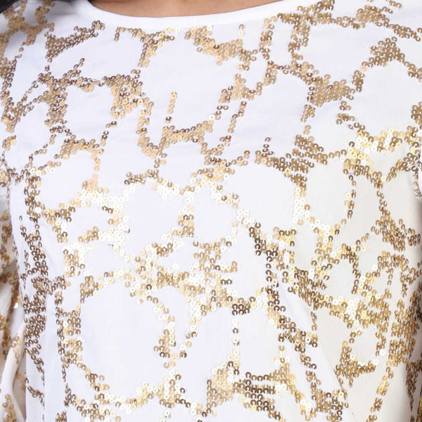 Rena Love Gold On White Sequined Top
