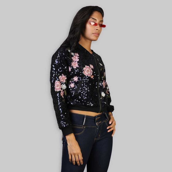 The Rena Love Floral Embroidered Sequin Top