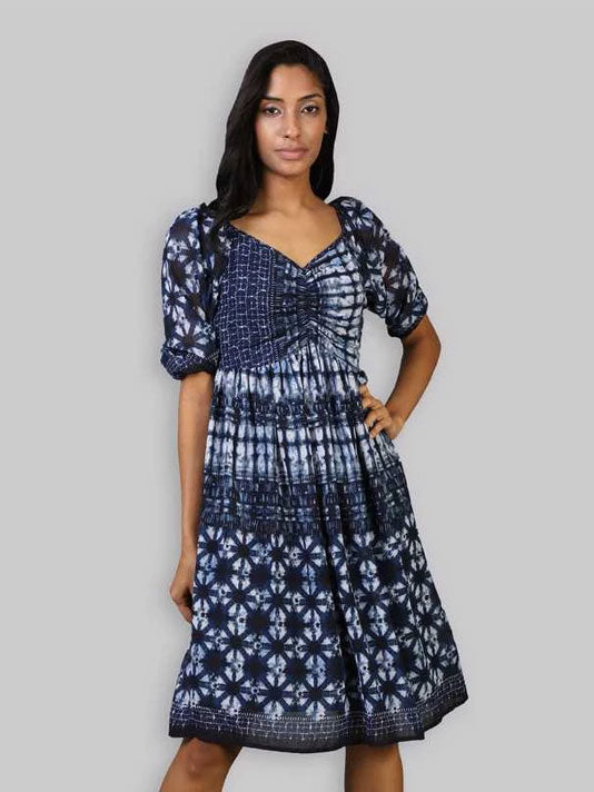 Kaia Blue Printed Dress