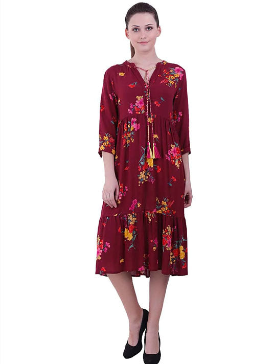 Maroon Magic Printed Dress