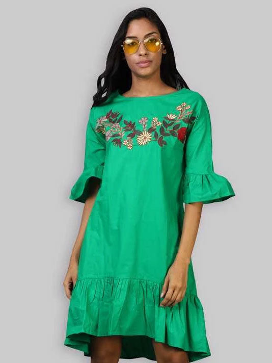 Parrot Green Embroidered Dress