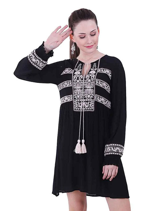 Raven Embroidered Dress