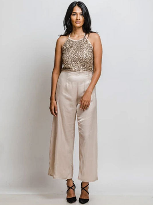 Cocktail Golden Satin Jumpsuit