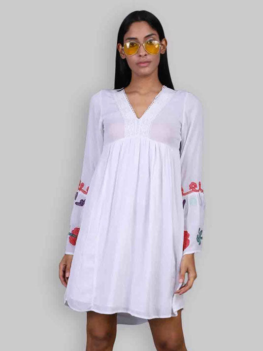 White Havana Embroidered Dress