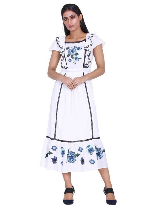 White Lily Embroidered Dress