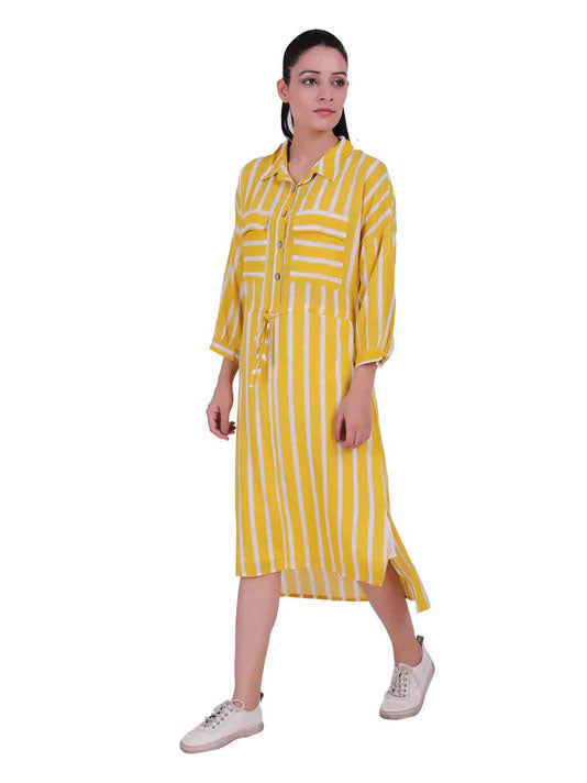 Yellow Stripes Printed Dress