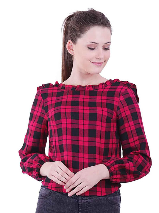 All over Checks Ruffled Back Top