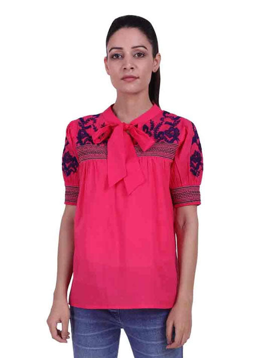 Embroidered Collar Tie-Up Top