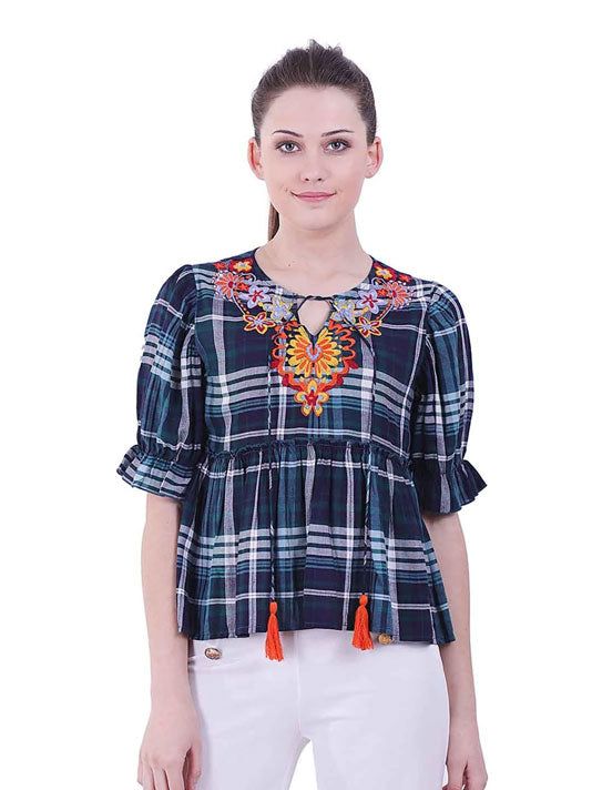 All over Checks Embroidered Peplum Blouse