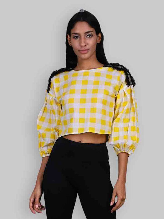 Feeling Yellow Checks blouse