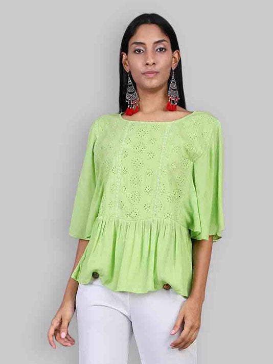 Mint Shiffli Top