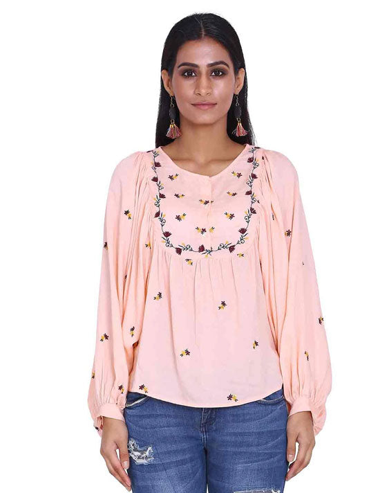 Peach All Over Embroidery Top