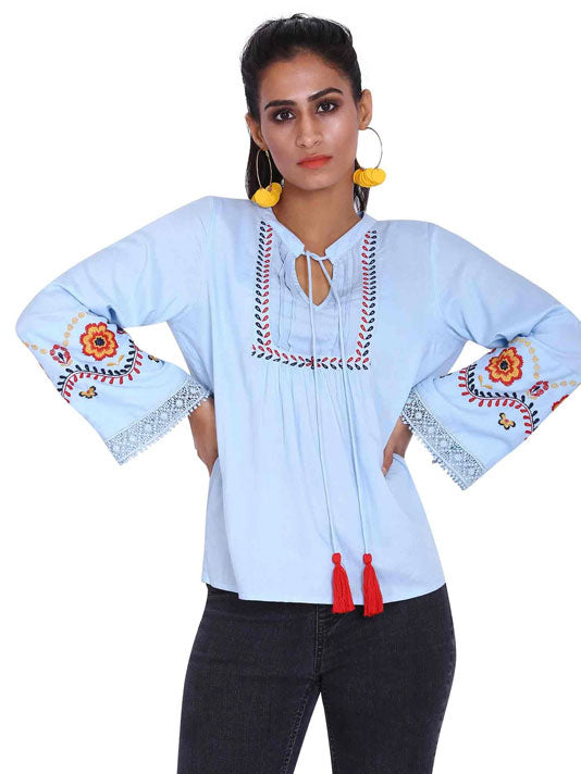 Powder Blue Embroidered Blouse