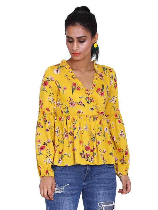 Floral Print Frill Mock Wrap Blouse