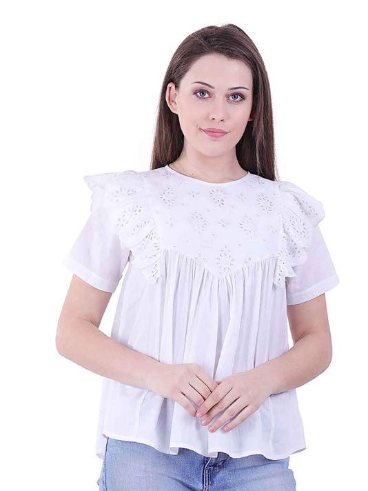 Ruffle Broderie Blouse