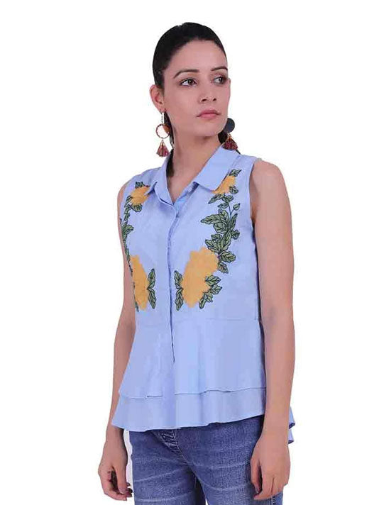 Sky Embroidered Top