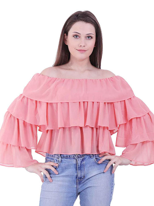 Solid Ruffle Blouse