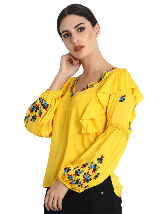 Sunflower Embroidered Blouse