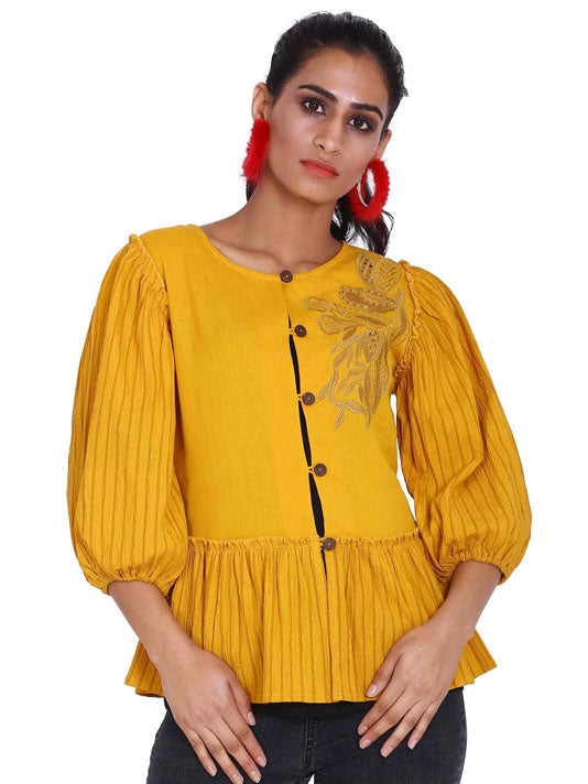 Sunshine Peplum Shirt Blouse