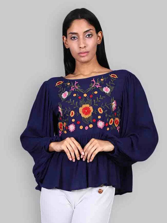 Veronica Blue Embroidered top