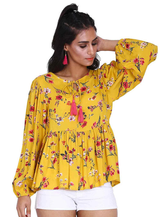 Yellow Floral Print Blouse