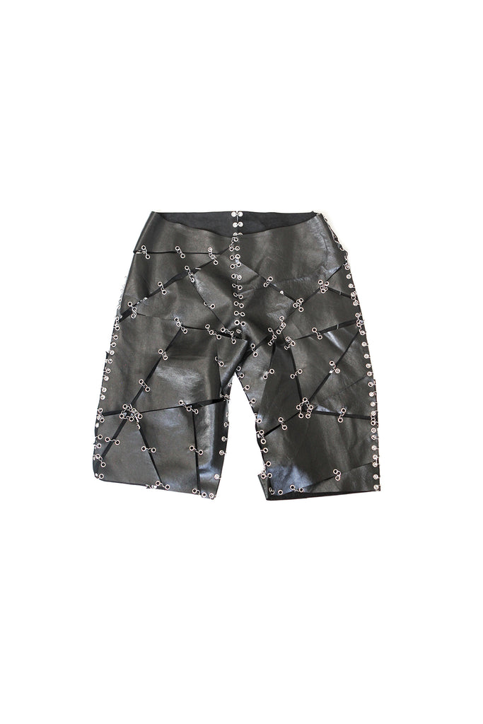 Leather Grommet Shorts