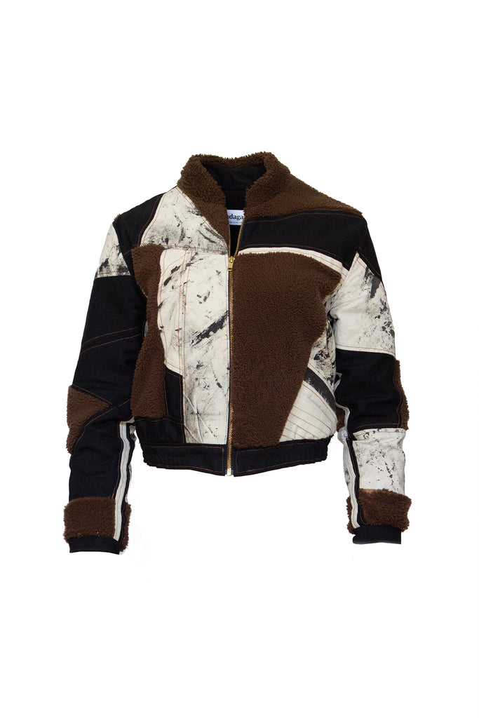 Patchwork Shearling Bomber