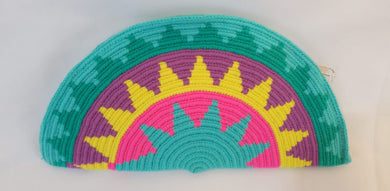 Green Blue Yellow Pink Semi Circle Clutch - Wuitusu