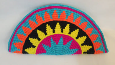 Blue Black Yellow Pink Semi Circle Clutch - Wuitusu