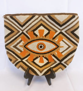 Brown Handmade Wayuu Punch Needle Evil Eye Tote Bag - Wuitusu