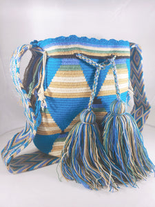 Blue, Brown, and Green Handmade Wayuu Mochila Bag - Wuitusu