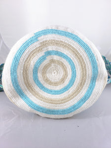Light Blue, green, cream, and brown Handmade Wayuu Mochila Bag - Wuitusu