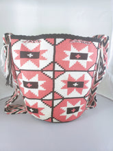 Rouge Pink, cream and black Handmade Wayuu Mochila Bag - Free USA Shipping - Wuitusu