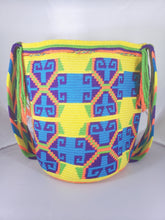 Yellow, Blue, Orange, and Purple Handmade Wayuu Mochila Bag - Wuitusu