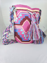 Pink, Blue, and Maroon Handmade Wayuu Mochila Bag - Wuitusu